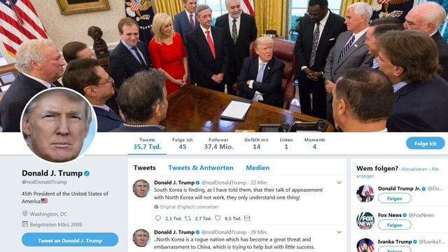 Screenshot da l'account da twitter da Trump.