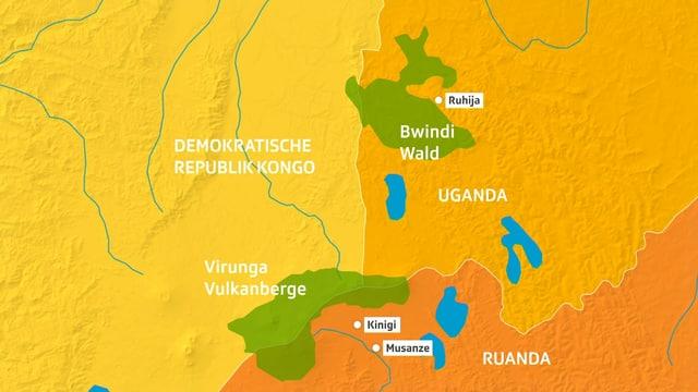 Karte auf der Gebiete eingezeichnet sind.