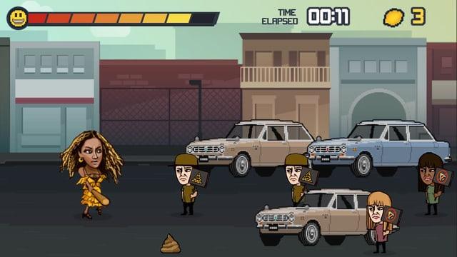 Computerspiel: Beyoncé läuft mit Baseballschlägern einer Strasse entlang.