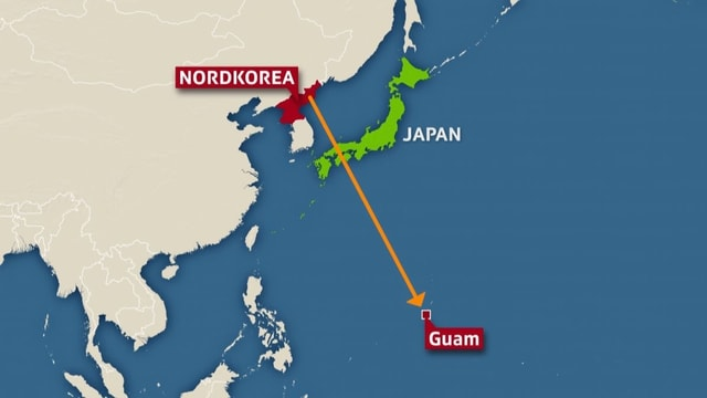 Karte Nordkorea-Guam.