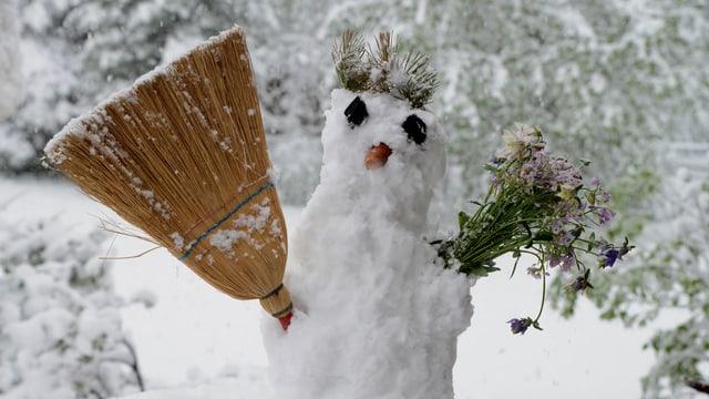 Schneemann mit Besen.