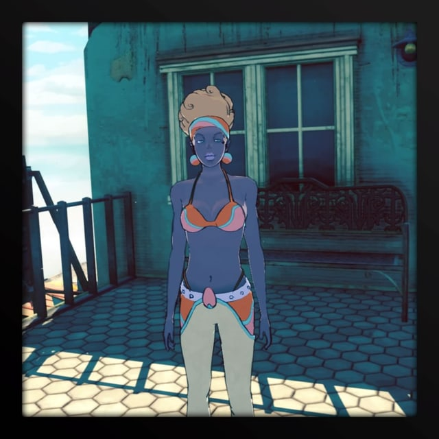 Eine Dame mit Afro und Bikini.