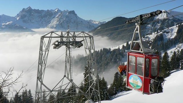 Winterlandschaft mit Seilbahnmasten und Seilbahnkabine.