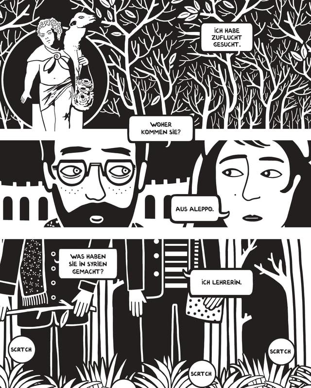 Eine Comic-Zeichnung in schwarz-weiss.