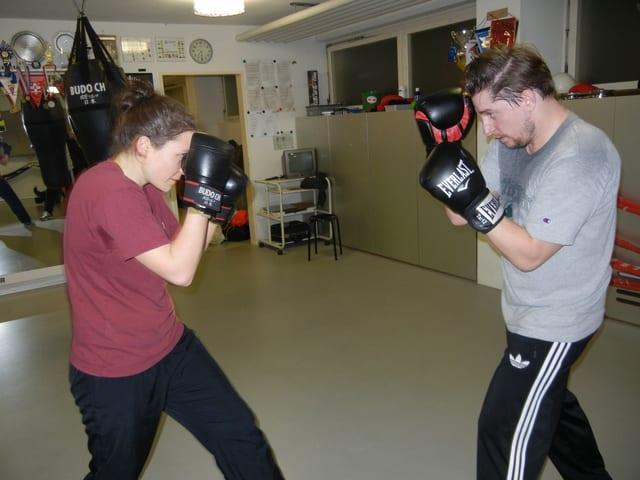 Lorenz Graf und Katrin Ritz trainieren.