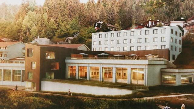 Visualisaziun dal project cun il hostel da wellness.