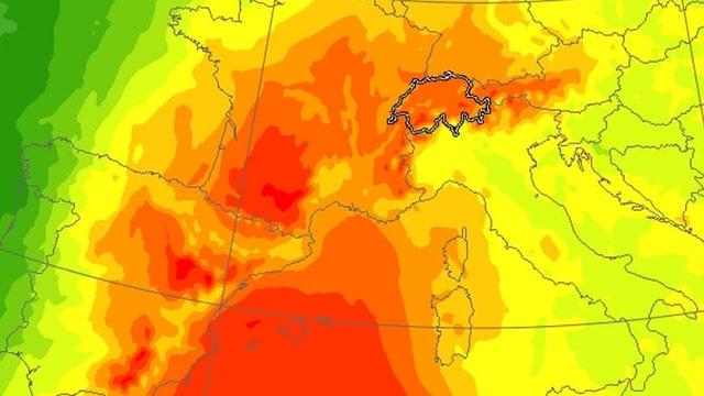 Karte mit der zu erwartenden Hitzewelle.