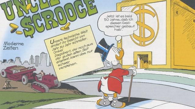 Dagobert Duck steht vor seinem Geldspeicher.