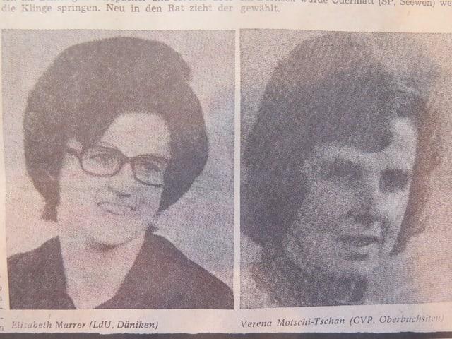 Zeitungsausschnitt mit den Bildern von zwei Frauen