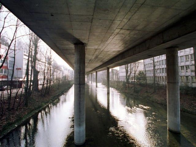 Blick von unten auf die Betonsäulen in der Sihl, die die darüberliegende Autobahn stützen.