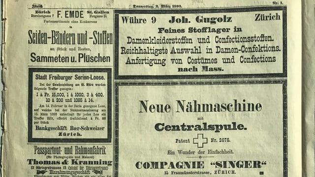 Anzeigen aus dem Jahr 1893, unter anderem für neue Nähmaschinen und Damenkleiderstoffe.