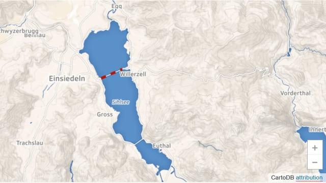Karte mit Shilsee und eingezeichneter Verbindung Einsiedeln-Willerzell.