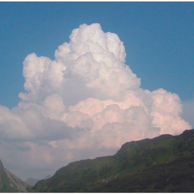 Eine grosse Quellwolke, die Wolketürme ragen bereits in grosse Höhen.
