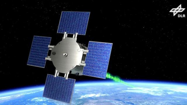 Ein Satellit fliegt im Weltall. Vorne hat er vier Solarpanels. Unter ist der blaue Planet, die Erde zu sehen.