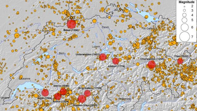 Karte mit den zehn stärksten Erdbeben in der Schweiz sowie den registrierten Beben zwischen 1975 bis 2012.