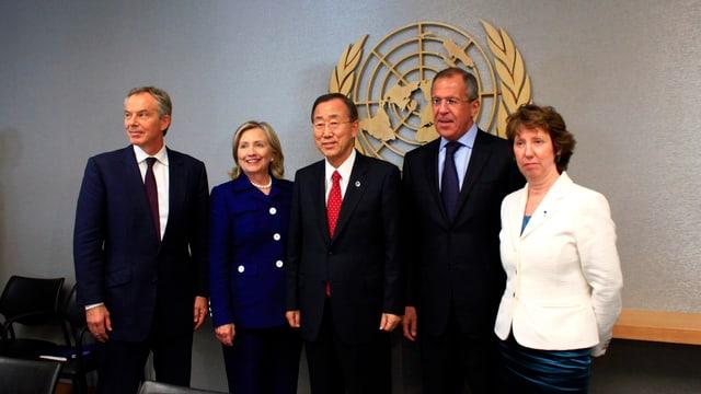 Il quartet per il Proxim Orient: Tony Blair, Hillary Clinton, Ban Ki-moon, Sergei Lavrov e Catherine Ashton.