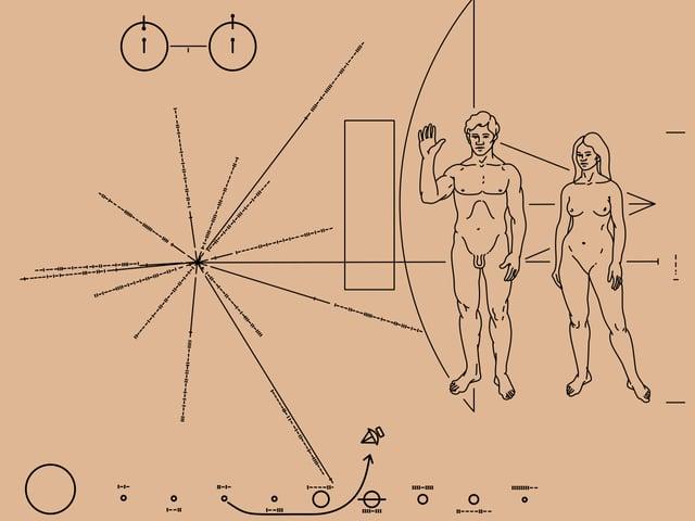 Zwei nackte Menschen und Schema des Sonnensystems auf den Pioneer-Plaketten.