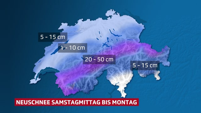 Schweizer Karte mit Neuschneesummen bis Montag. Bis 50 cm am Alpennordhang.