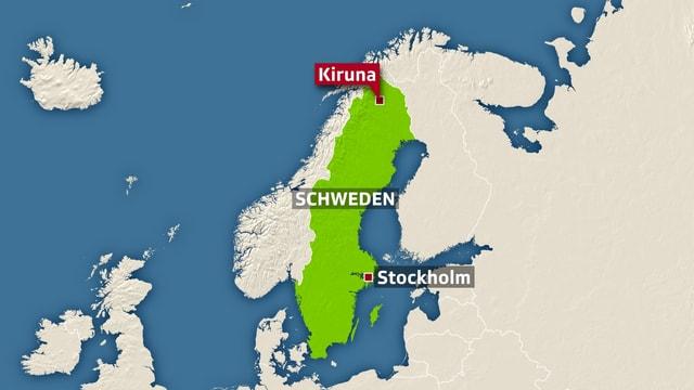 Auf einer Landstrasse nahe der Stadt Kiruna kamen die sechs Schweizer ums Leben.
