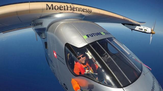 Die Solar Impulse 2 während eines Flugs mit Bertrand Piccard.