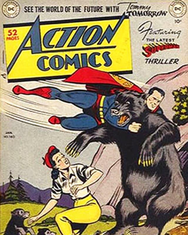 Superman fliegt auf auf einem Comic-Cover einen Bären an.