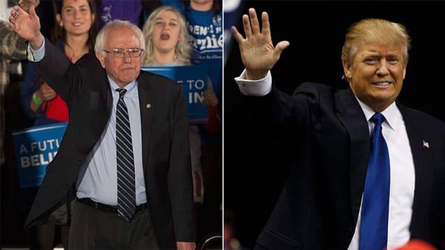 Collage zeigt Berie Sanders und Donald Trump