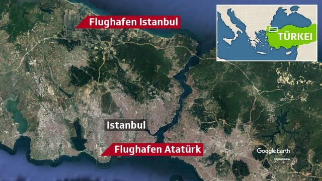 Lage der beiden Flughäfen in der türkischen Stadt Istanbul
