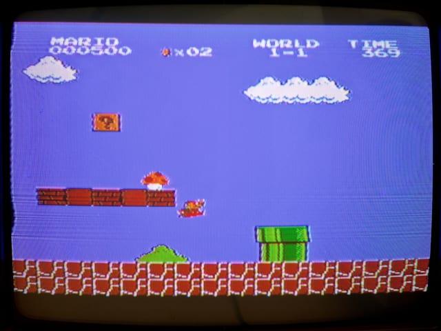 Der zweite Bildschirm, mit Pilz. Gleich wird Mario zu Super Mario.