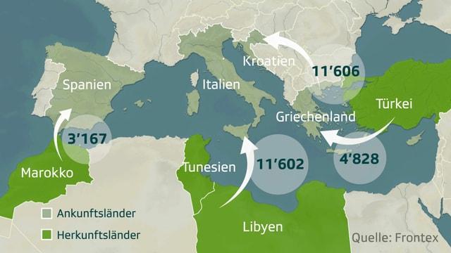Die wichtigsten Routen für illegale Einreisen.