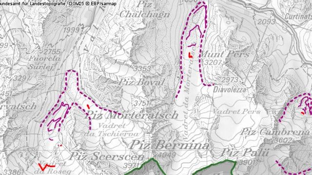 Kartenausschnitt des Morteratsch-Gletschers