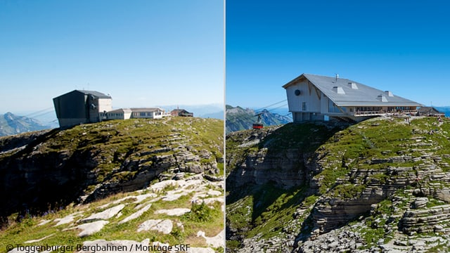Chäserrugg mit links altem Restaurant, rechts mit dem neuen.