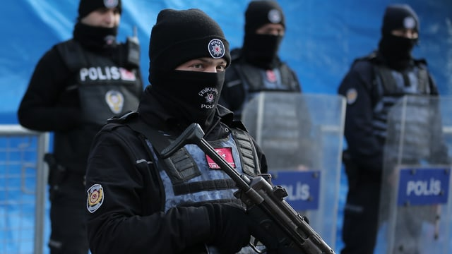Schwer bewaffnete Polizisten in Schwarz stehen in einer Reihe, einer im Vordergrund.
