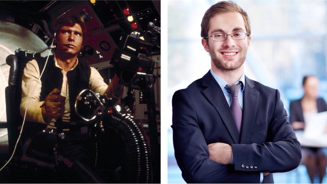 Collage: Han Solo und Strebertyp