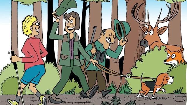 Zeichnung von Jägern, die vor einer Joggerin den Hut ziehen, daneben ein Hirsch und ein Fuchs.