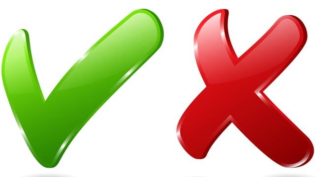 Symbole für Ja und Nein