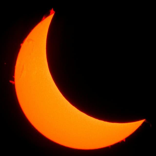 Bild von der Sonnenfinsternis 2015 über der Schweiz.