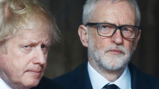 Johnson und Corbyn auf einer Trauerfeier