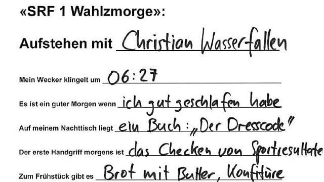 Handschrift von Christian Wasserfallen.