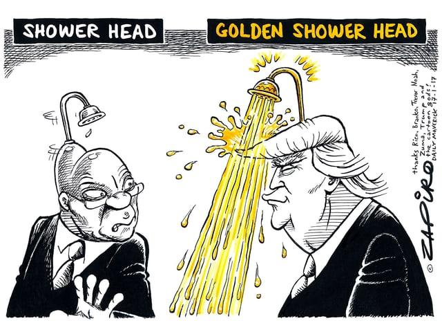 Zuma mit Duschkopf auf dem Kopf neben Trump mit goldenen Duschkopf und Goldwasser, das auf ihn sprudelt.