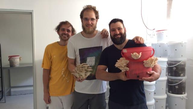 Die drei Männer posieren mit einem Eimer, wo Pilze rauswachsen.