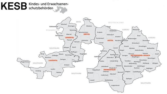 Karte mit Aufteilung der sechs Kindes- und Erwachsenenschutzbehörden im Baselbiet