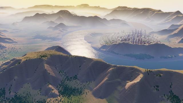 Ein Screenshot des Games «SimCity» zeigt eine Stadt in einer Hügellandschaft.