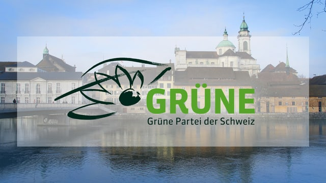 Logo der Grünen vor der Solothurner Altstadt