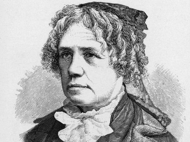 Schwarz-Weiss Zeichnung von einer Frau aus dem 19. Jahrhundert