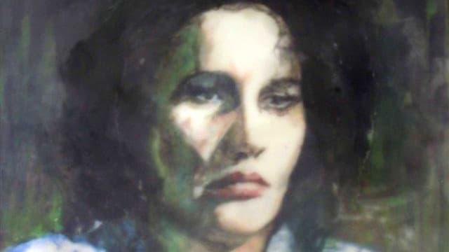 leicht unscharf gemaltes Bild einer Frau mit schwarzen Haaren