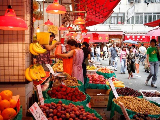 Einen Markt in Hong Kong.