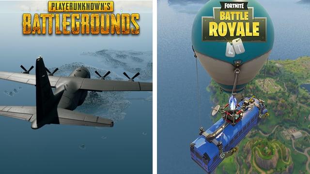 In PUBG startet man im Militärflugzeug - in Fortnite im Partybus... das verdeutlicht wie unterschiedlich diese Spiele sind.