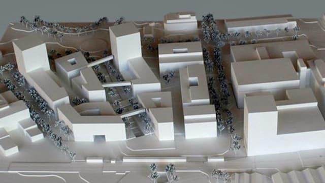 Architekturmodell der geplanten Grossüberbauung im Gebiet Mattenhof.