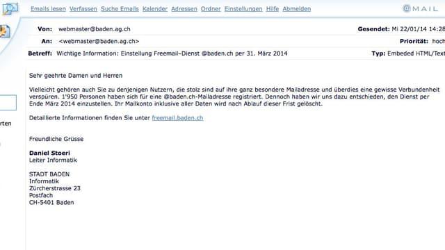 Ausschnitt der Informationsmail der Stadt Baden