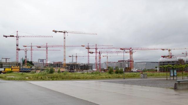 Baukrane bei der Baustelle Glattpark in Zürich, Opfikon.